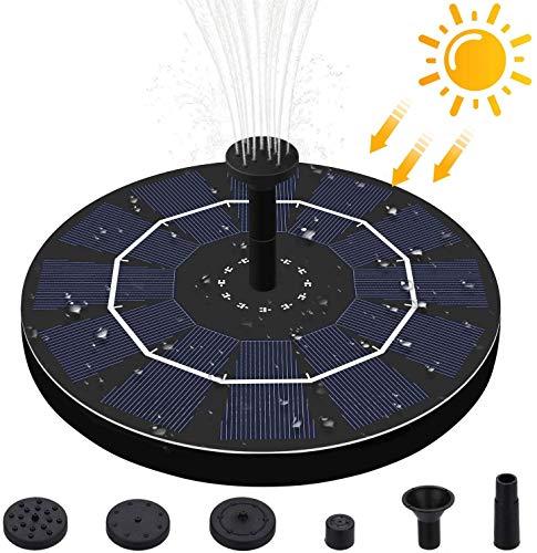 Solar Springbrunnen,2.5W Solar Teichpumpe Outdoor Wasserpumpe Solar Pumpe mit Monokristalline Solar schwimmender Fontäne Pumpe mit 6 Fontänenstile für Garten, Vogel-Bad,Teich,Fisch-Behälter
