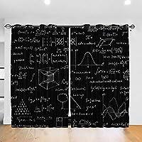 """奥深い数学 カーテン遮光断熱ウィンドウカーテン ドレープ ウィンドウトリートメント 寝室 リビングルームホームデコレーション 2枚 52"""" W 84"""" L リビングルーム"""