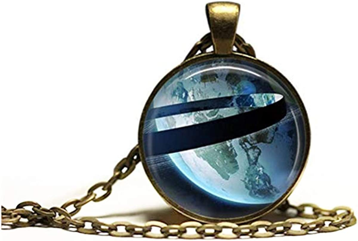 Jupiter Ring necklace, Planet jewelry,Universe charm Earth pendant,Dome glass jewelry, pure hand-made