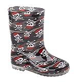 Boys Wellington Boots Skull Design and Dinosaur Design Childrens Wellington Boots Rain Snow Wellies UK Size 6-2 Black