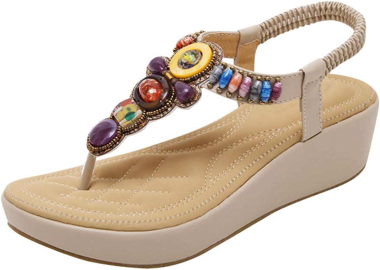 Uirend Women's Beaded Sandals - Girls Bohemian Wedge shoes Casual T-Bar Comfy Flip-Flops Beach Open Toe Outdoor shoes