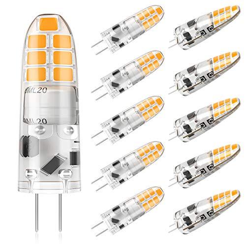 DiCUNO 10-Pack G4 2W LED-Lampe, 200LM, AC/DC 12V Glühlampen, Ersatz für 20W Halogen, Warmweiß 3000K, Nicht Dimmbar, Kein Flickern, LED Stiftsockellampe, Kleine Glühlampe, 10 Stücks