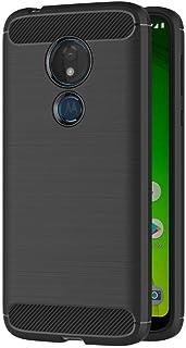حافظة حماية لهاتف موتورولا موتو جي 7 باور (6.2 انش) مصنوعة من السيليكون الناعم والفاخر مع نسيج من الياف كربونية (اسود)