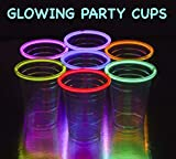 GLOWING PARTY CUPS Multicolor 20 Count Variety Pack Neon Glowing Light Up Cups Glow Party Supplies Glow in the Dark Decorations Glow Party Favors Glow Sticks