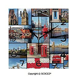SCOCICI Square Wall Clock England City Red Telephone Booth Clock Tower Bridge River British Flag with Flowers 8 inch Morden Wall Clocks Silent Square Decorative Clock