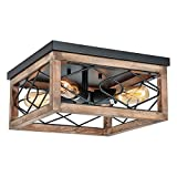 Eyassi Farmhouse Ceiling Lights, Close to Ceiling Lighting Fixtures Wooden Flush Mount 4-Light Black Ceiling Lamp for Kitchen Island Living Room Bedroom Hallway Laundry Entryway