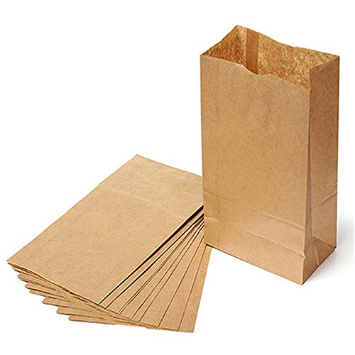 10Pcs Brown Kraft Paper Bags Party Wedding Favors Small Gift Bread Food Bags