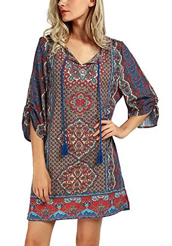 Women Bohemian Neck Tie Vintage Printed Ethnic Style Summer Shift Dress (L, Pattern 11)