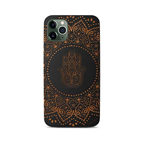 Case Yard Wooden Case Compatible with iPhone XR Soft TPU Silicone, Slim Fit Shockproof Wood Protective Phone Cover for Girls Boys Men and Women, Supports Wireless Charging Hamsa Hand Mandala Black