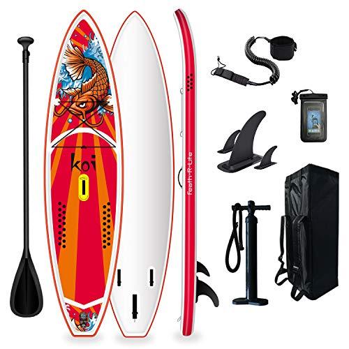 FunWater Tabla de surf de remo, hinchable, 350 x 86 x 15 cm, todo incluye tabla, tabla antideslizante, mochila de viaje, remo ajustable, bomba, correa, bolsa impermeable