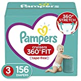 Diapers Size 3, 156 Count - Pampers Pull On Cruisers 360˚ Fit Disposable Baby Diapers with Stretchy Waistband, ONE MONTH SUPPLY