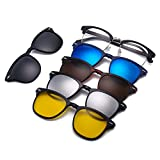 Magnetic 5Pcs Polarized Clip-on Sunglasses Square Lenses Plastic Frame for Night Driving 2218A