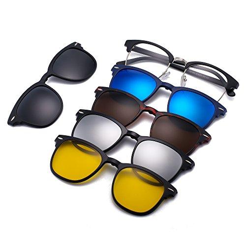 Magnetic 5Pcs Polarized Clip-on Sunglasses Square Lenses Plastic Frame for Night Driving 2218A