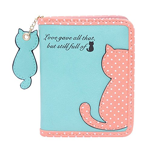 [AMgrocery] 財布 (二つ折り財布) レディース パスケース収納付き [猫のチャーム&ドット猫のワッペン付] 二つ折り 小銭入れ (ミント グリーン)
