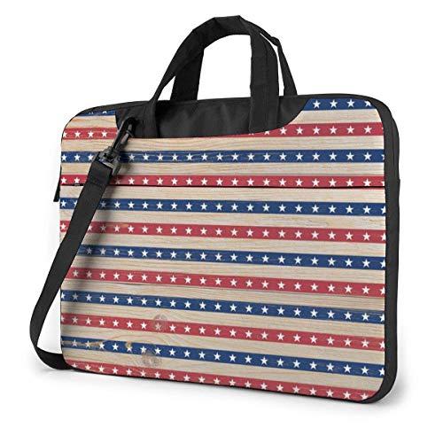 15.6 inch Laptop Shoulder Briefcase Messenger Red Blue Stripes Stars USA Wooden American Flag Tablet Bussiness Carrying Handbag Case Sleeve