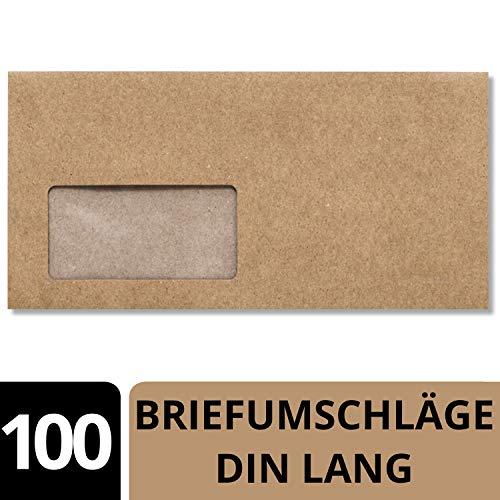 100 x Kraftpapier Umschläge DIN Lang - mit BIO Fenster kompostierbar - Haftklebung 11,4 x 22,9 cm - Briefumschläge aus Recycling Papier - von NEUSER PAPIER