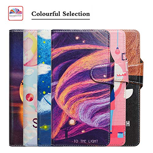 HHDY Compatible Huawei Y6 2019 Leder hülle, Painted Muster Wallet Handyhülle mit Kartenfächer/Standfunktion Case Cover für Huawei Y6 2019 / Y6 Prime 2019 / Huawei Honor 8A,Brilliant Purple
