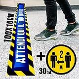 PACK Strisce e adesivi per pavimenti con laminato antiscivolo, DISTANZA DI SICUREZZA