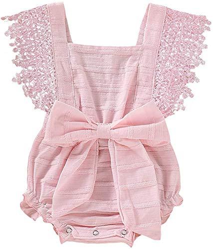 Baby Summer Lace Bow Strampler, Neugeborene Mädchen Boy Ärmellose Massive Lace Bow Bodysuit Outfits (Pink,70cm)