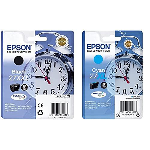 Epson C13T27914022 - 27XXL - Cartucho de Tinta + 27XL DURABrite Ultra - Cartucho de Tinta, Paquete estándar, Cian, válido para los Modelos