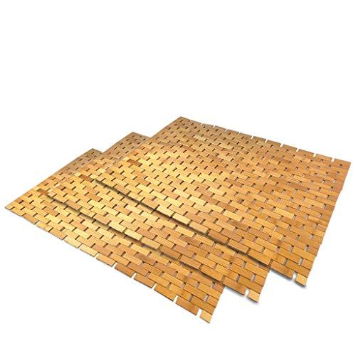 SudoreWell® Wellness Badematte Saunamatte aus Bambus 80 x 50 cm - 3 Stück