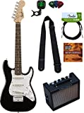 Squier by Fender Mini Strat Electric Guitar - Black Bundle with...