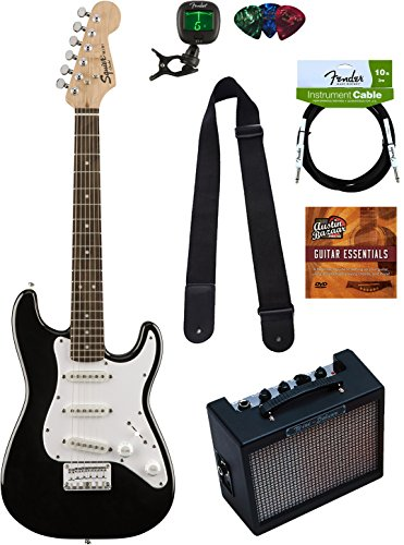 Squier by Fender Mini Strat Electric Guitar - Black Bundle with Amplifier,...