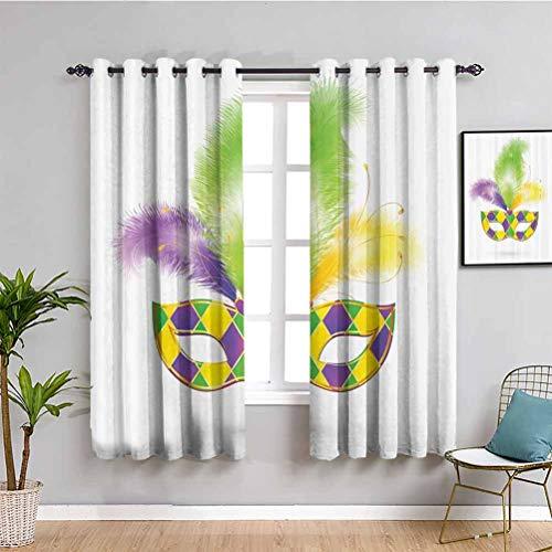 Colección de decoraciones de mascarada de la granja cortina colorida máscara de carnaval y brillo amor celebrar ocultar ojos alegres muebles de protección verde púrpura amarillo W63 x L63 pulgadas