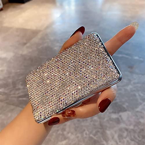 XIAOXIA Estuche de cigarrillo portátil de metal ultrafino a prueba de presión para dama con diamantes de imitación