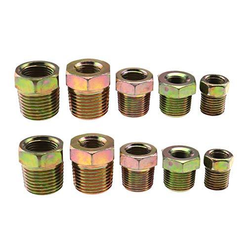 10 adaptadores de casquillo roscado, 1/8 a 1/4, 3/8 a 1/2, 1/4 a 3/8, 1/8 a 3/8, 1/4 a 1/2 para manguera de línea de aire (hembra a macho)-BSP