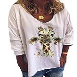 Camiseta de Manga Larga con Cuello en V de otoño e Invierno Personalidad Moda Animal Print Tallas Grandes Casual Loose Top MujeresXX-Large