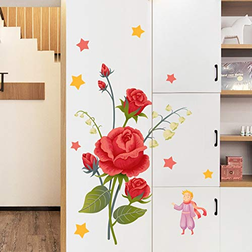XYL HOME Stickers Pastoral Small Fresh Rose Wall Stickers Dormitory Wall Decoration Door Stickers Stickers Bedroom Room Warm Wallpaper Stickers