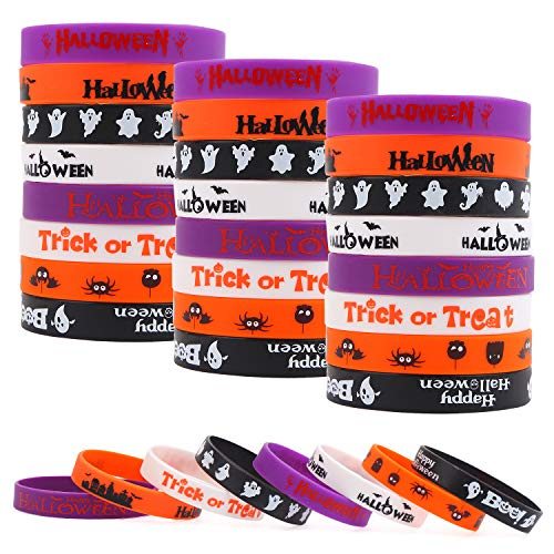 DIYASY 24pcs Halloween Silicone Wristbands Bracelets, Halloween Rubber Bracelets Wristbands for Halloween Party Favors (8 style)