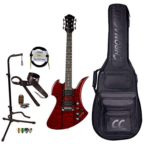 BC Rich Guitars Mockingbird Legacy STQ Hardtail Electric Guitar with Case, Strap, and Stand, Trans Red