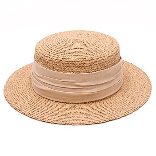 DJH Sombrero para el Sol para Mujer, protección UV Flexible, Gorras para el Sol de ala Ancha, Sombrero de Playa de Paja con Parte Superior Plana y Redonda.