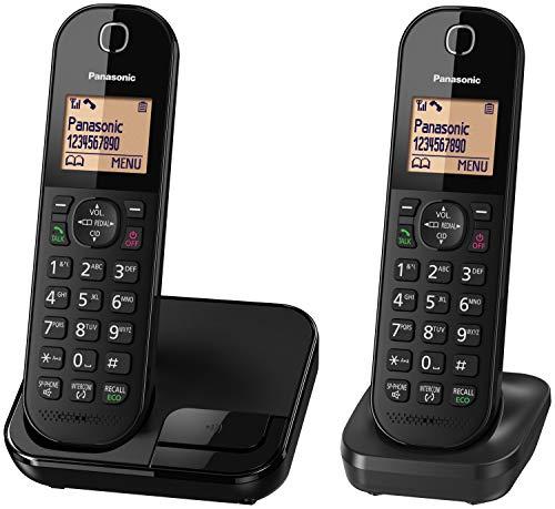 Panasonic KX-TGC41 Digital Cordless Phone with Nuisance Call Blocker, speakerphone and call waiting - Black (Pack of 2)