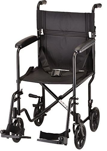 NOVA Medical Products Steel Transport Chair, 9 Inch Black 24.8x10.24x31.89