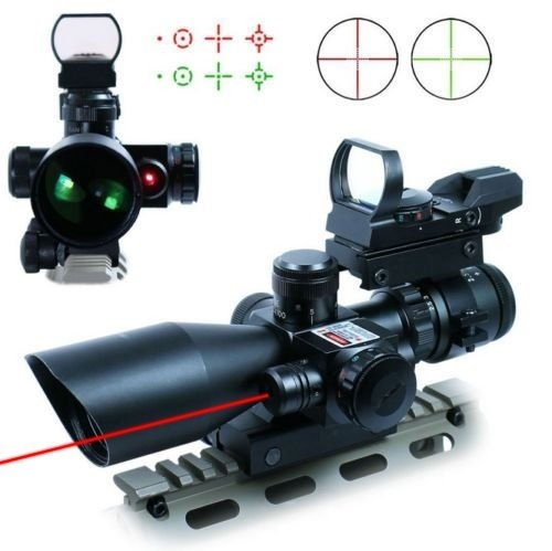 Save %10 Now! UUQ 2.5-10x40 Tactical Rifle Scope Dual Illuminated Mil-dot W/RED Laser Sight, Rail Mo...