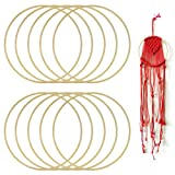 Golrisen Juego de 10 Aros de Bambú para Hacer Atrapasueños de Macrame y Manualidades, 20cm de Diámetro, Aros de Bambú Grandes, Anticorrosión, Decorar Boda al Aire Libre y Hogar