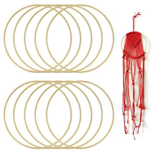 GOLRISEN Aros de Madera para Hacer Atrapasueños de Macrame y Manualidades, 10 unids Aros de Bambú Grandes, 20cm de Diámetro, Anticorrosión, Decorar Boda al Aire Libre y Hogar