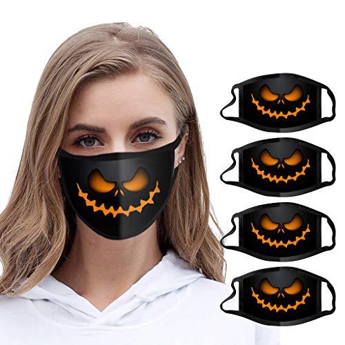 Btruely 5X Halloween Maske Mundschutz Waschbar Baumwolle Staubdichte Multifunktionstuch mit Kürbis Motiv Atmungsaktiv Lustige Motorrad Halstuch
