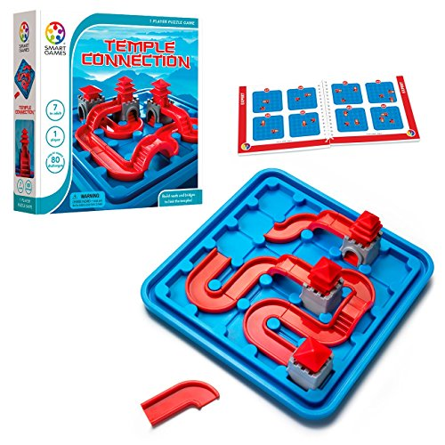 SmartGames Temple Connection Board Game, a Fun, STEM Focused Path-Building Brain Game and Puzzle Game for Ages 7 and Up