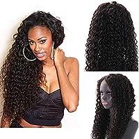 ウィッグカーリーレースウィッグ人間の髪の毛ウィッグと赤ちゃんの髪カーリーウィッグ黒人女性レミーヘア、密度150%、24インチ