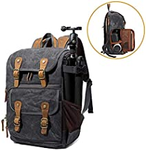 Camera Backpack Canvas SLR DSLR Camera Bag Backpack Large Capacity Front Open Waterproof Anti-Shock Backpack for Canon Nikon Fuji and Other Cameras Laptop Ipad, Dark Grey