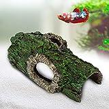 AQQA Decoración de acuario, tronco de árbol, escondite de resina, cuevas, árbol hueco tronco de árbol, tronco ornamental, madera flotante para beta, pez, reptiles, tortugas (L)