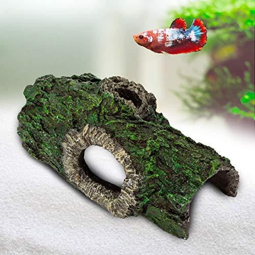 AQQA Aquarium Dekoration Baumstamm,Harz Versteck Höhlen Hohlbaum Baumstamm Stamm Ornament , Treibholz für Betta Fisch Reptilien Schildkröten (L)