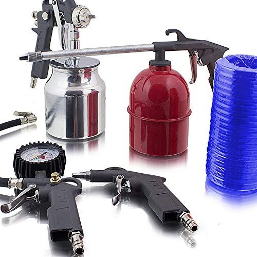 BITUXX® 5 teiliges Druckluftset Zubehör Set für Kompressor Schlauch Reifendruck Ausblaspistole Sprühpistole Lackieren Druckluft Pneumatik