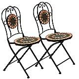 Deuba Mosaikstühle Terrakotta 2er Set Klappbar Sitzhöhe 45cm Metall Stabil Mosaik Balkonstuhl Gartenstuhl Klappstuhl
