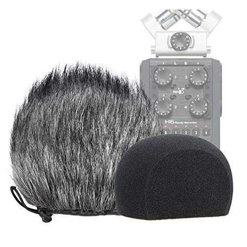 Fell-Windschutz für Zoom H6 Tragbare Handliche Rekorder Innen/Draussen Mikrofon Windschutzscheibe von YOUSHARES (2 PACK)