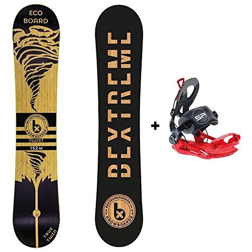Bextreme Tabla Snowboard Freestyle y Freeride Twist 2019 con Fijaciones SP Private. Eco-Board Hecha de Bambu, Haya y álamo. Medidas 152, 157 y 160cm Wide. Snow para Hombre y Mujer